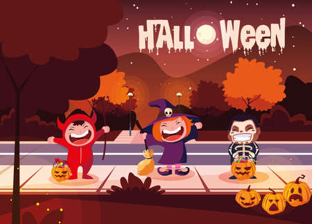 poster of halloween with cute children disguised vector illustration design