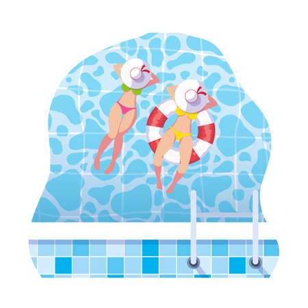 girls with swimsuit and lifeguard float in water vector illustration design
