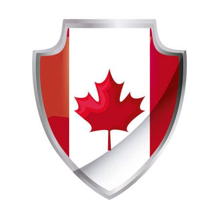 flag of canada patriotic in shield shape vector illustration design