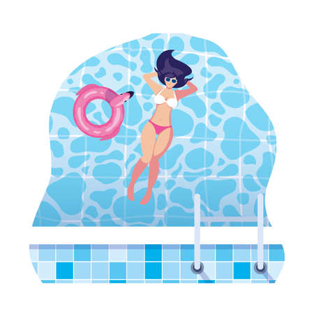 beautiful woman with swimsuit floating in water vector illustration design Illusztráció