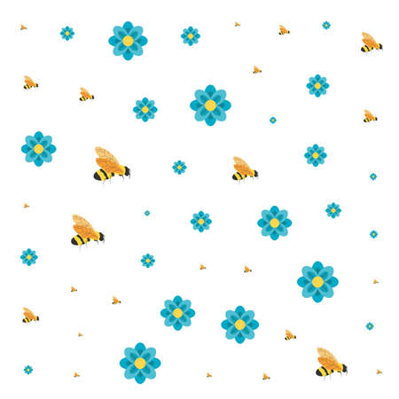 pattern of bees insects with flowers vector illustration design
