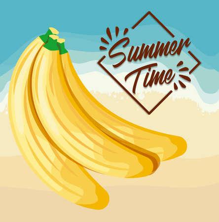 summer beach poster with bananas vector illustration design