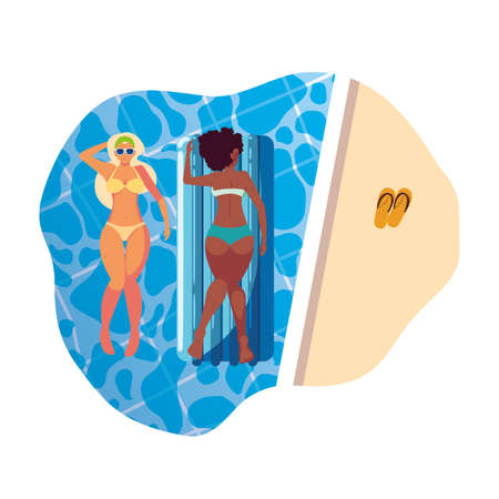 beautiful interracial girls with float mattress in water vector illustration design