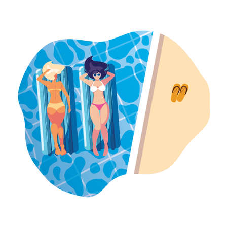 beautiful girls with float mattress floating in pool vector illustration design