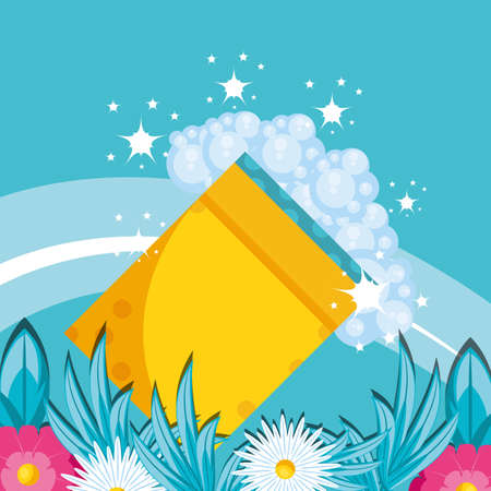 housekeeping tools with foam and flowers vector illustration design