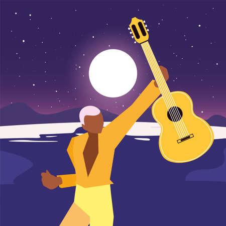 musician man classic guitar playing vector illustration  イラスト・ベクター素材