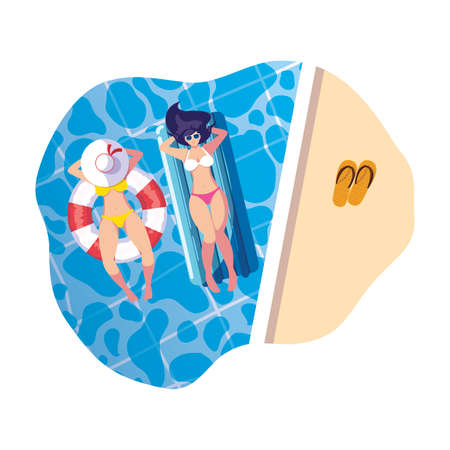 girls with swimsuit in lifeguard and mattress floats in water vector illustration design