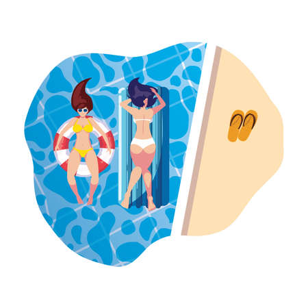 girls with swimsuit in lifeguard and mattress floats in pool vector illustration design