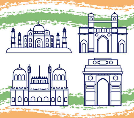 set of structures emblematic of indian vector illustration design