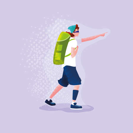 man traveler with backpack pointing out vector illustration design