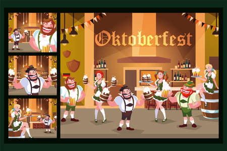set of cards with people drinking beer in bar Oktoberfest celebration vector illustration design Illustration