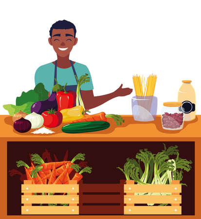 seller man farm products stand vector illustration 向量圖像