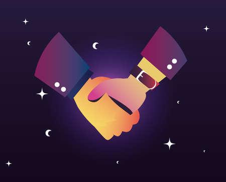 business handshake dark background flat design vector illustration