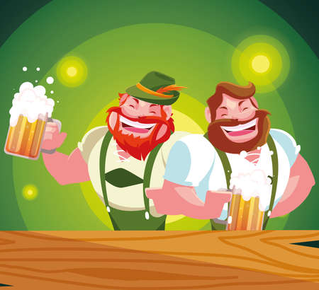 Oktoberfest men design, Germany festival celebration europe landmark munich culture and party theme Vector illustration Ilustración de vector