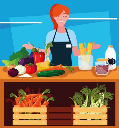 seller woman with products fruits and vegetables vector illustration