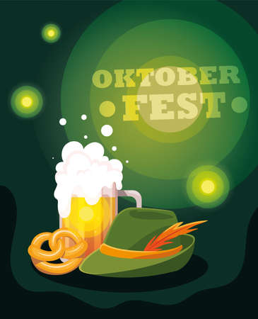 beer festival oktoberfest with mug and foam vector illustration design
