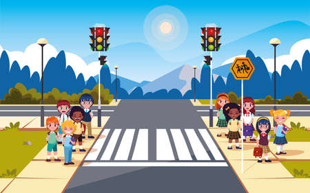 road street scene with traffic light and cute students vector illustration design