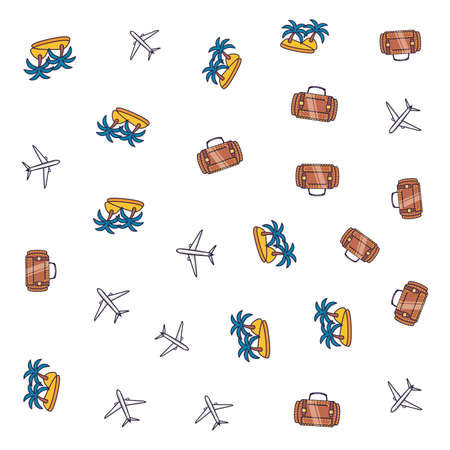 pattern of airplanes with suitcases and islands vector illustration design
