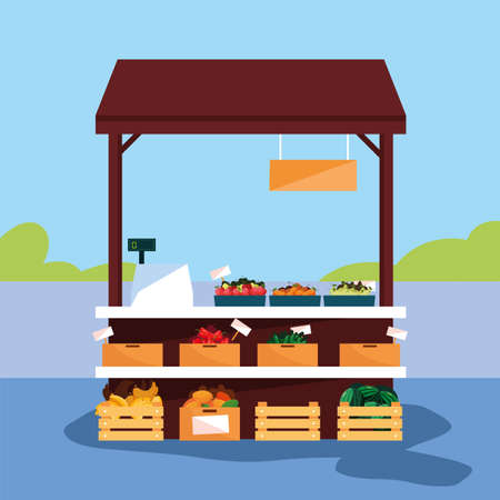 stand selling vegetables and fruits vector illustration