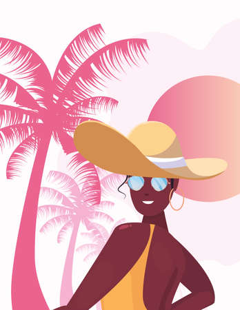 beautiful woman with hat summer time vector illustration