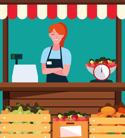 saleswoman with stall kiosk facade of store fruits vector illustration design