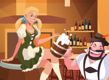 Oktoberfest man and woman design, Germany festival celebration europe landmark munich culture and party theme Vector illustration