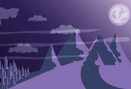 landscape mountain with sky purple vector illustration design