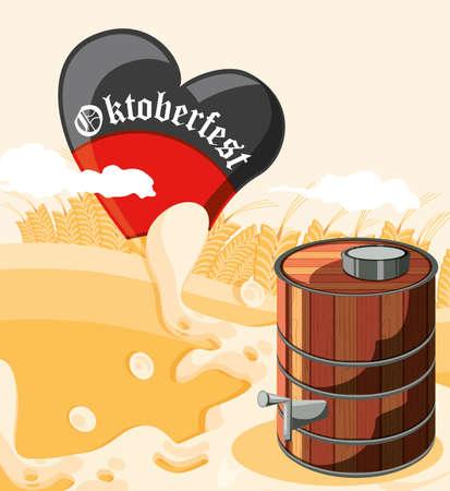 oktoberfest celebration day with beer barrel vector illustration design Ilustración de vector