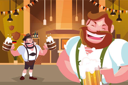 men with german traditional dress drink beer in bar Oktoberfest celebration vector illustration design