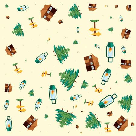 pattern kerosene lamp and of camping objects vector illustration design Vektoros illusztráció