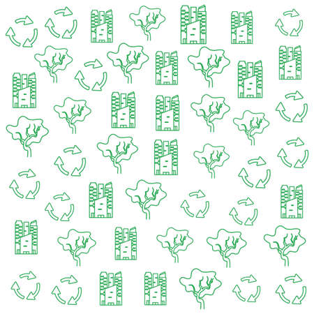 pattern of arrows recycling with buildings and trees plants vector illustration design