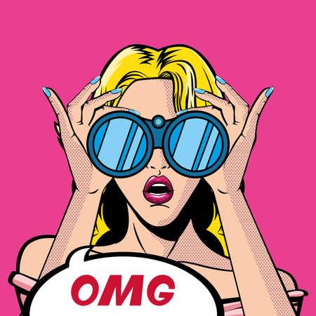 retro blond woman cartoon with binoculars and omg bubble design, Pop art vintage and fashion theme Vector illustration Ilustração Vetorial
