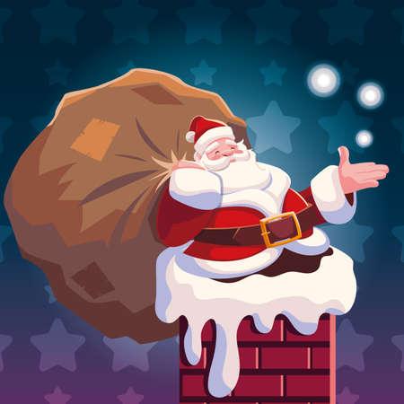 christmas card of santa claus entering the chimney on white background vector illustration design Vektorgrafik