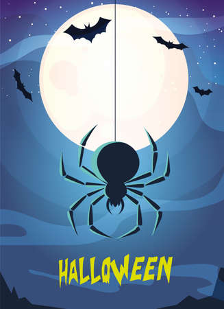 creepy spider animal with label of halloween vector illustration design
