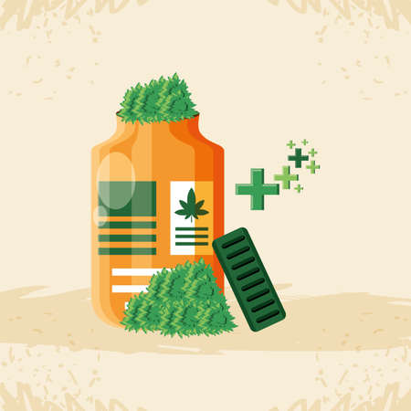 bottle of medicine cannabis with leafs vector illustration design