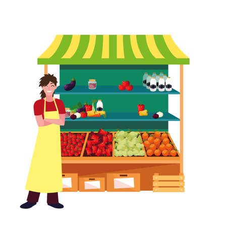 seller woman farm products stand vector illustration