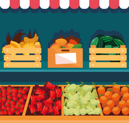 stand selling vegetables and fruits vector illustration Stock Illustratie
