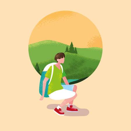 man traveler in landscape mountainous scene nature vector illustration design