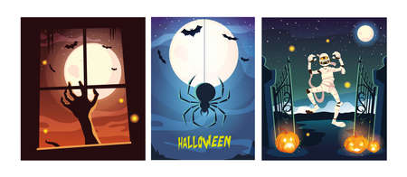 set of cards with halloween scenes vector illustration design