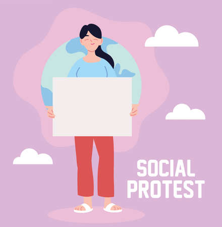 woman in social protest with banner vector illustration design Vettoriali