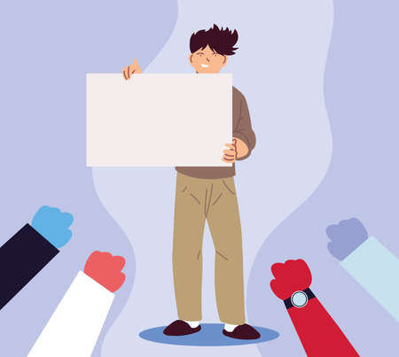 man in social protest with banner vector illustration design