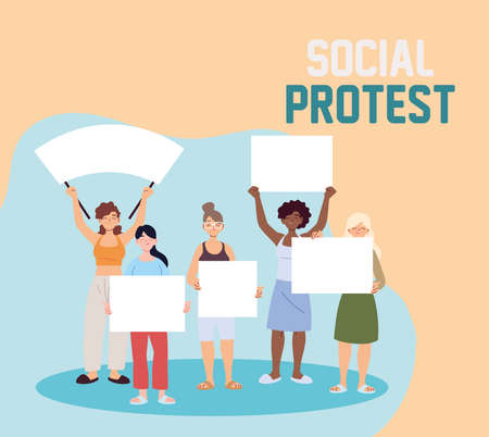 women with holding placards at a social protest vector illustration design