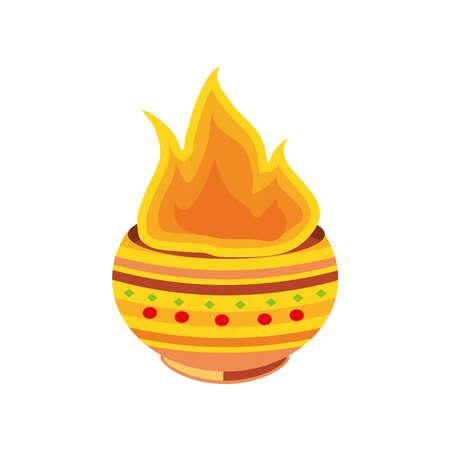 pongal, hindu festival on white background vector illustration design