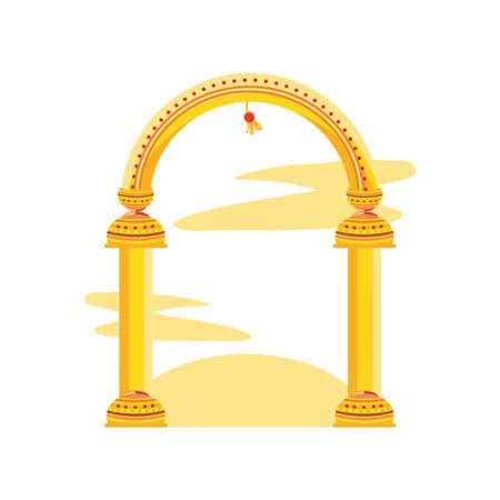 golden column arc on white background vector illustration desing