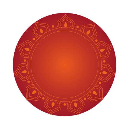 mandala on red circle design of Bohemic ornament indian decoration retro vintage meditation henna ethnic arabic texture and tribal theme Vector illustration