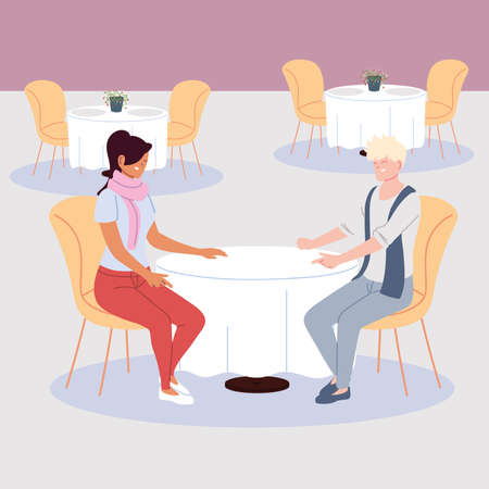 couple of people in the restaurant, romantic dinner vector illustration design
