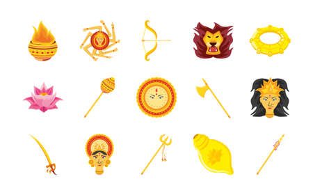set of icons festival navratri over white background vector illustration design Vetores