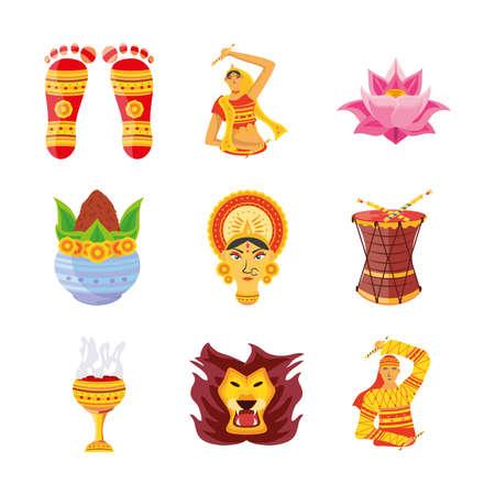 set of icons festival navratri on white background vector illustration design Vetores