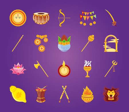 set of icons festival navratri on purple background vector illustration design