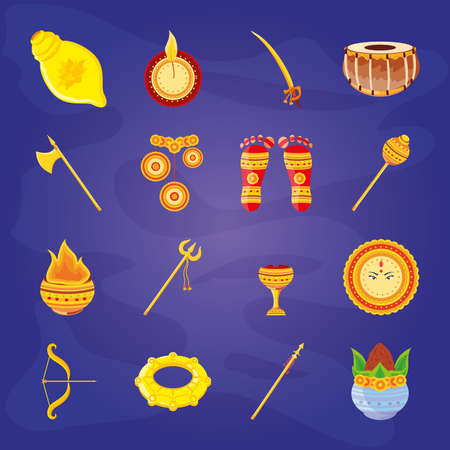 set of icons festival navratri on blue background vector illustration design